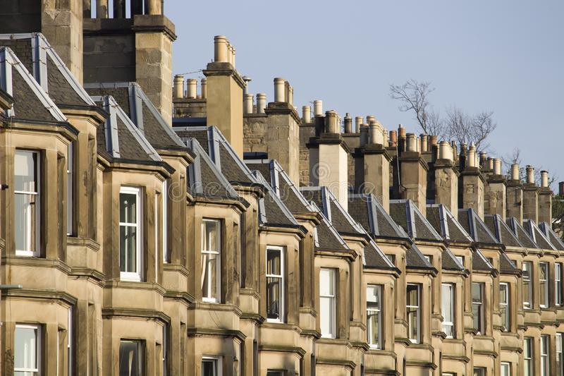 Victorian colony homes made of sandstone in Edinburgh, Scotland. Picture at Comely Bank Ave. Comely Bank which is an area of Edinburgh, the capital of Scotland royalty free stock photography
