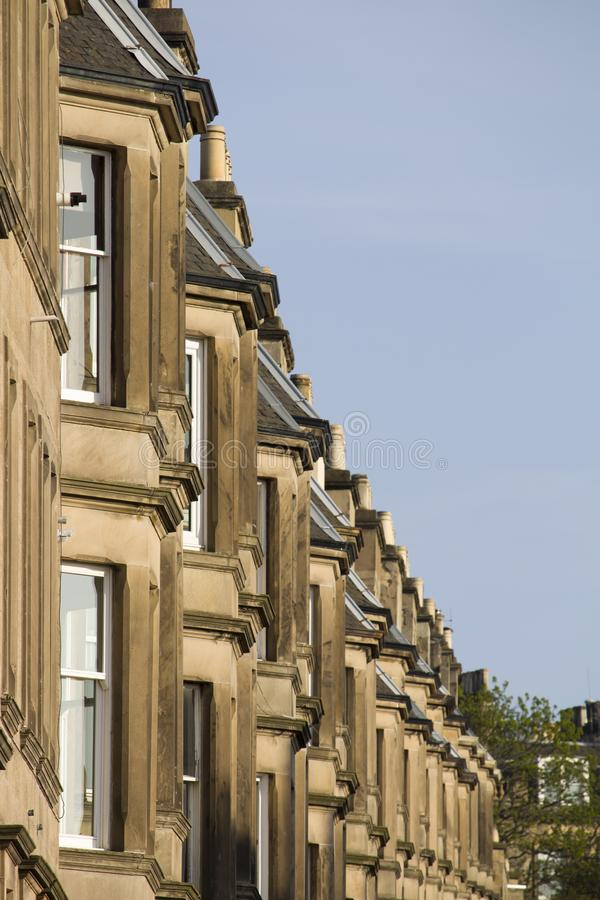 Victorian colony homes made of sandstone in Edinburgh, Scotland. Picture at Comely Bank Ave. Comely Bank which is an area of Edinburgh, the capital of Scotland stock images