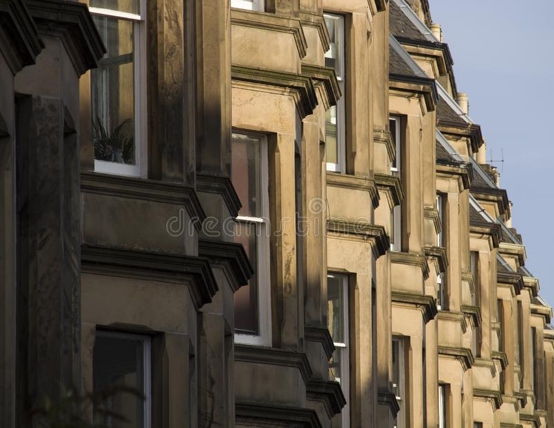 Victorian colony homes made of sandstone in Edinburgh, Scotland. Picture at Comely Bank Ave. Comely Bank which is an area of Edinburgh, the capital of Scotland stock photo