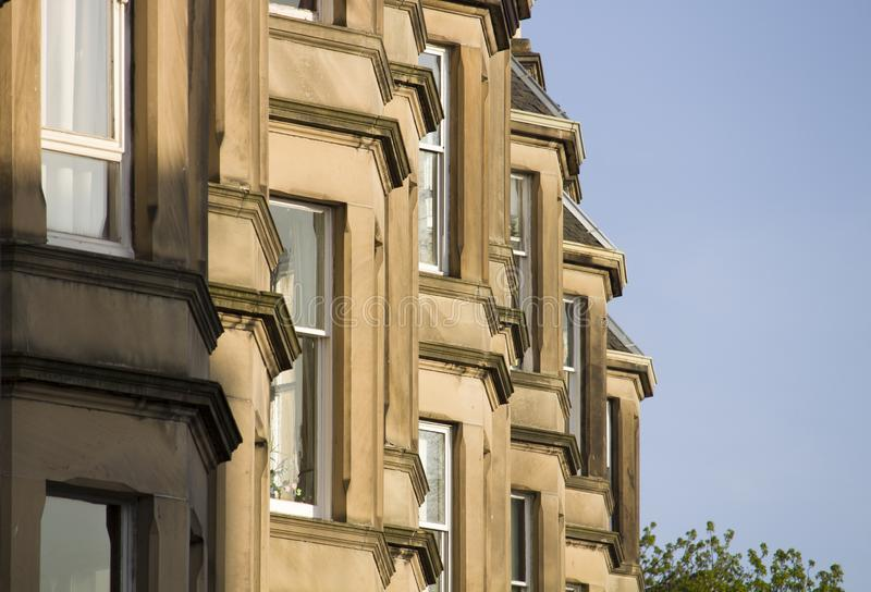 Victorian colony homes made of sandstone in Edinburgh, Scotland. Picture at Comely Bank Ave. Comely Bank which is an area of Edinburgh, the capital of Scotland stock photography