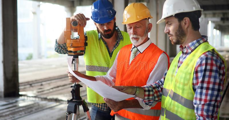 Picture of construction engineer working on building site royalty free stock photography