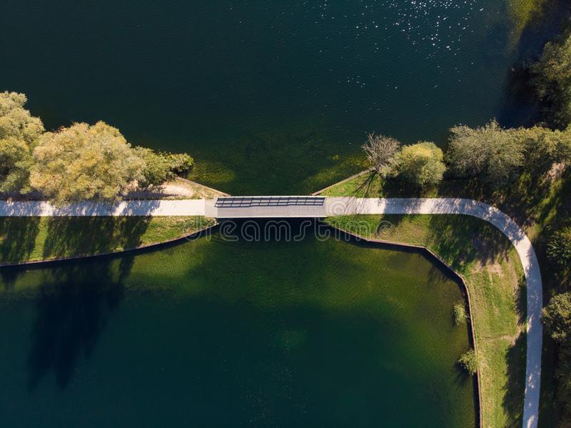 Drone shot of a lake in the netherlands royalty free stock photos