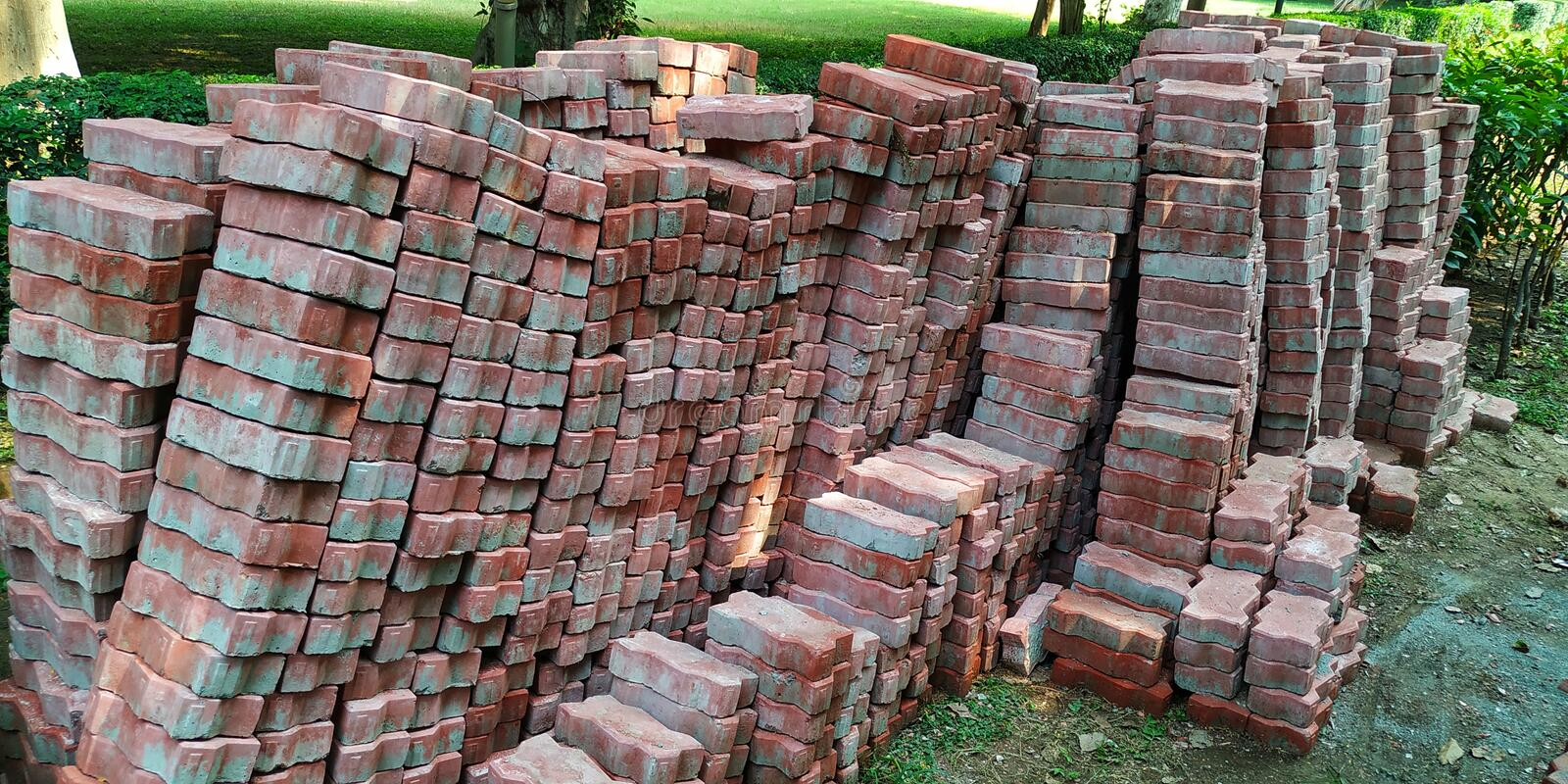 A picture depicting various types of bricks royalty free stock photo