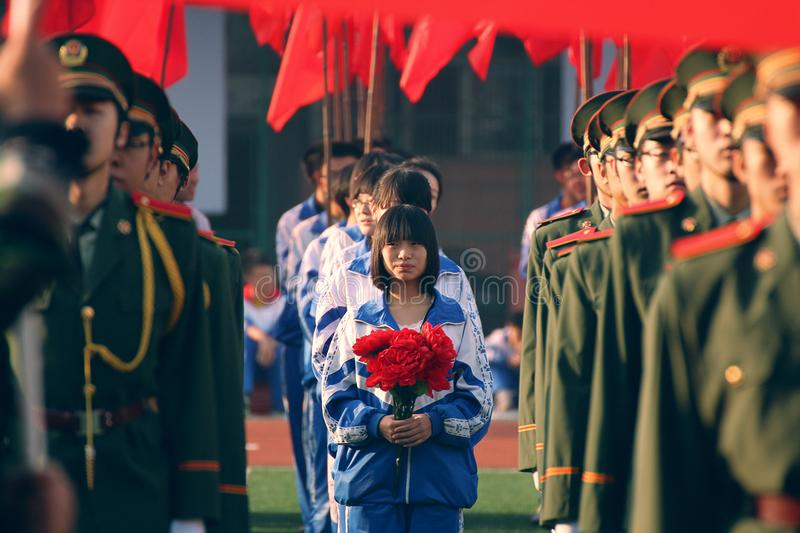 Opening ceremony of Sports meeting, Taiyuan No.12 middle school royalty free stock photo