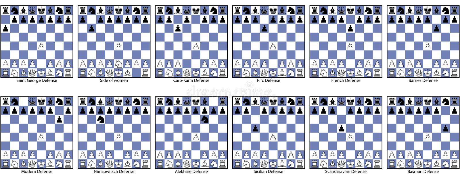 Collection of semi-open game chess openings royalty free stock photos