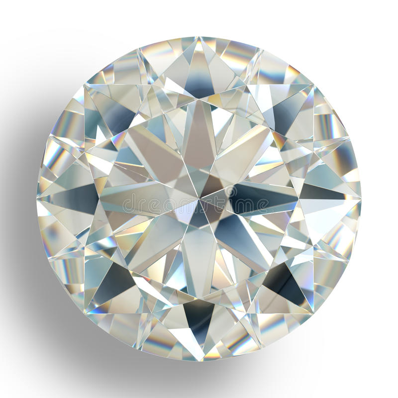 Free Picture Diamond Jewel On White Background. Beautiful Sparkling Shining Round Shape Emerald Image. Stock Photos - 80573433