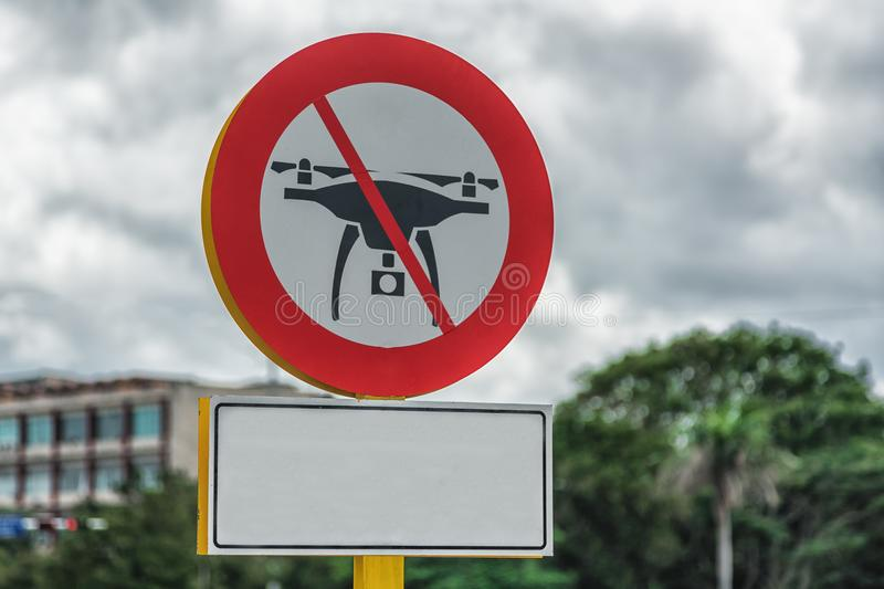 Picture of drone flight prohibited road sign on the Cuban streets royalty free stock image
