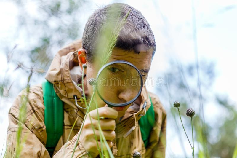 Picture of environmentalist man with magnifying glass royalty free stock photos