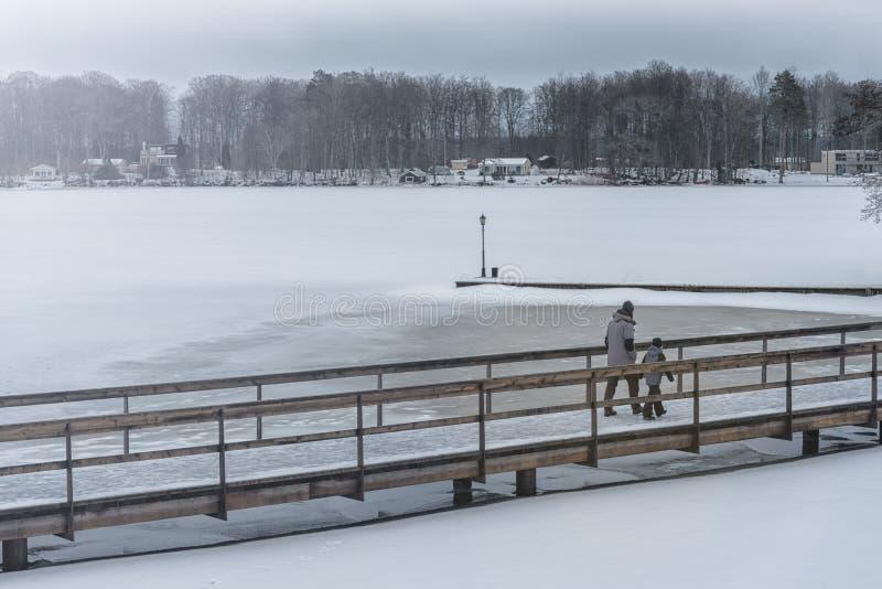 Picture of family walking across frozen lake on the wooden bridge stock photo