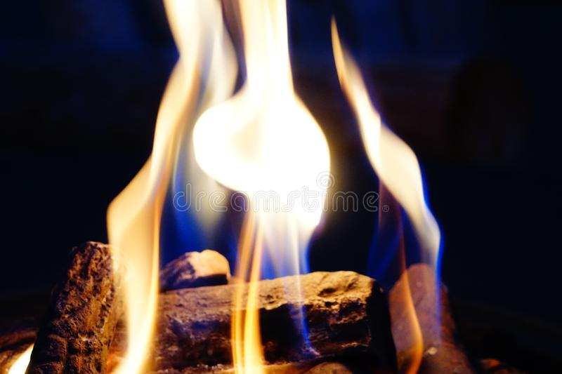 Fire pit flames. A picture a fire pit showing the flames stock photos