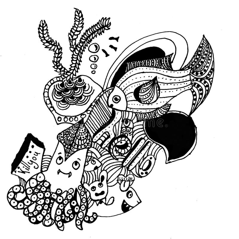 The picture of fish in zentangle style. There is a doodle picture. Nice zentangle picture in jpg format royalty free illustration