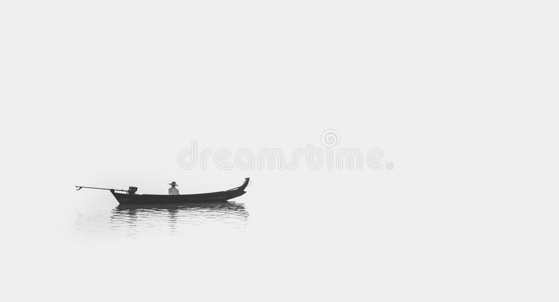 Lonely Fisherman in Myanmar royalty free stock photo