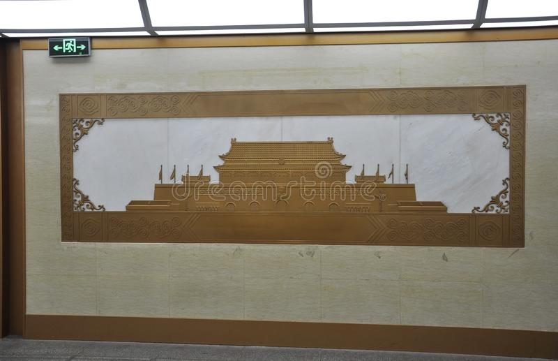 Picture of the Forbidden City Main Gate on the wall in Beijing. Picture of the Forbidden City Main Gate on the metro wall the Former Chinese imperial Palace stock image