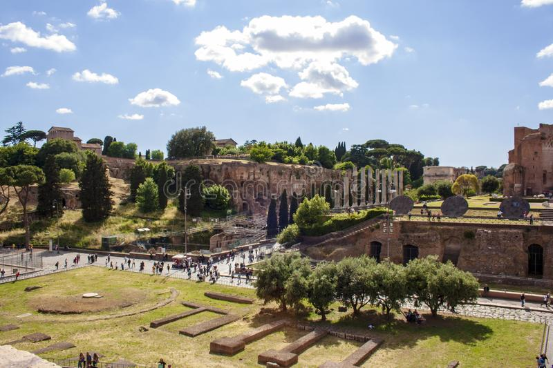 View on Fori Imperiali ruins in Rome royalty free stock image