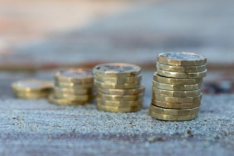 Pound Coin Stacks stock image