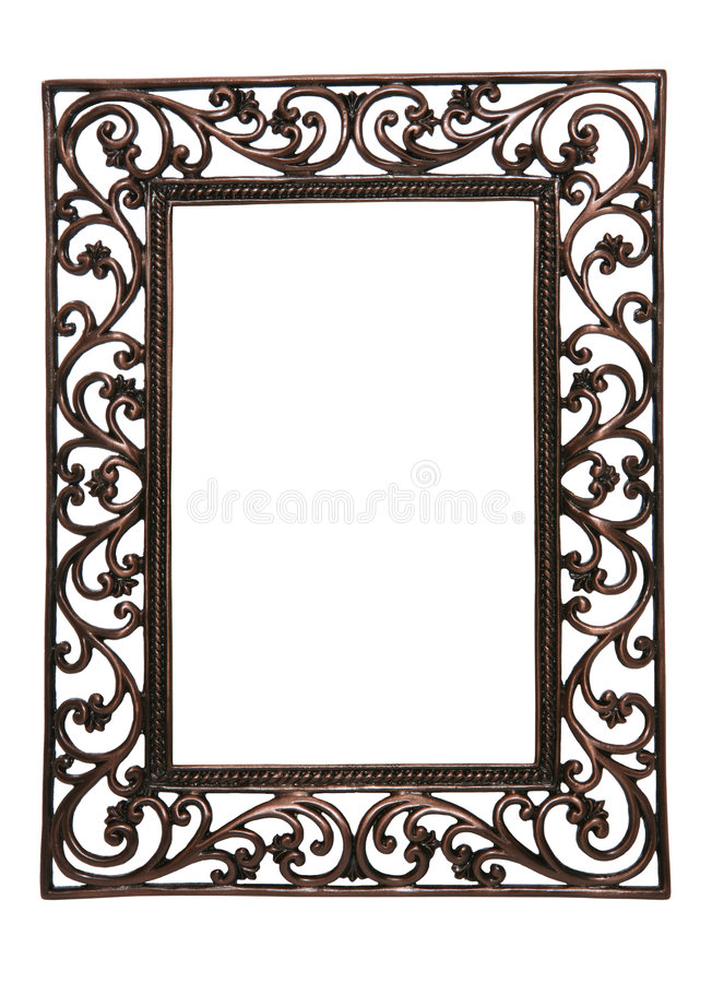 Picture Frame. A brass wire picture frame isolated over white (Natural Rough Edges royalty free stock images