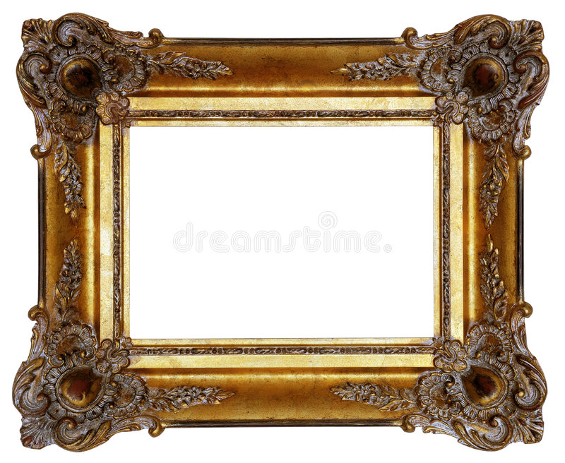 Picture frame. Gold square antique picture frame cutout art craft royalty free stock photography