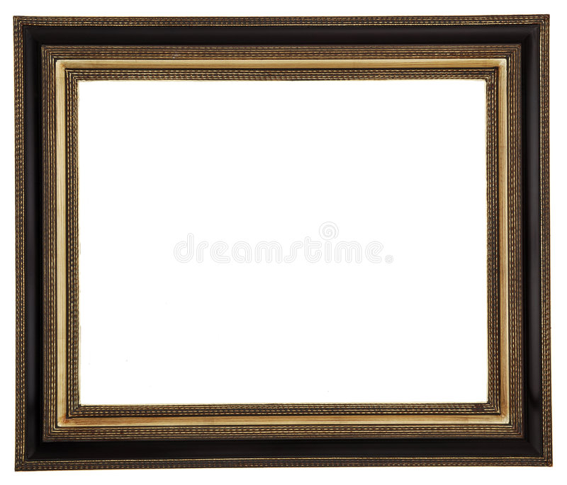 Picture frame. Gold square antique picture frame cutout art craft stock image