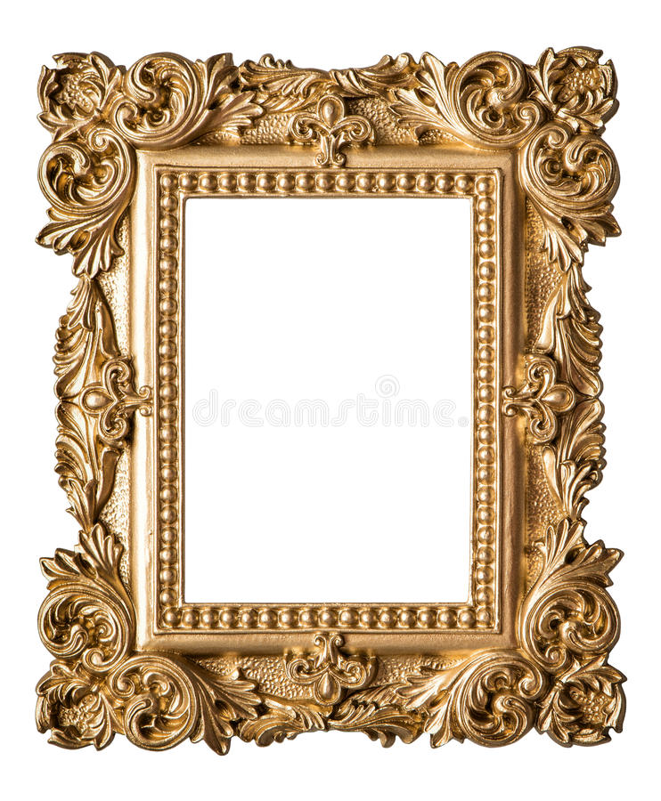 Picture Frame Baroque Style Vintage Art Gold Object Stock