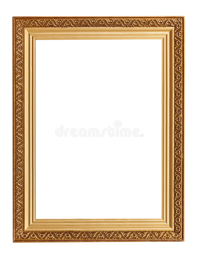 Picture frame with carved pattern. Wide golden picture frame with carved pattern isolated on white background stock photos