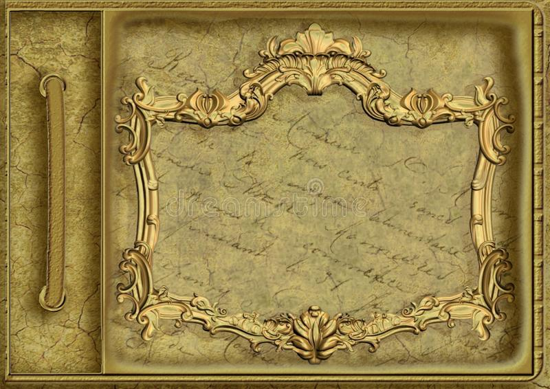 Picture Frame, Carving, Relief, Brass stock photography