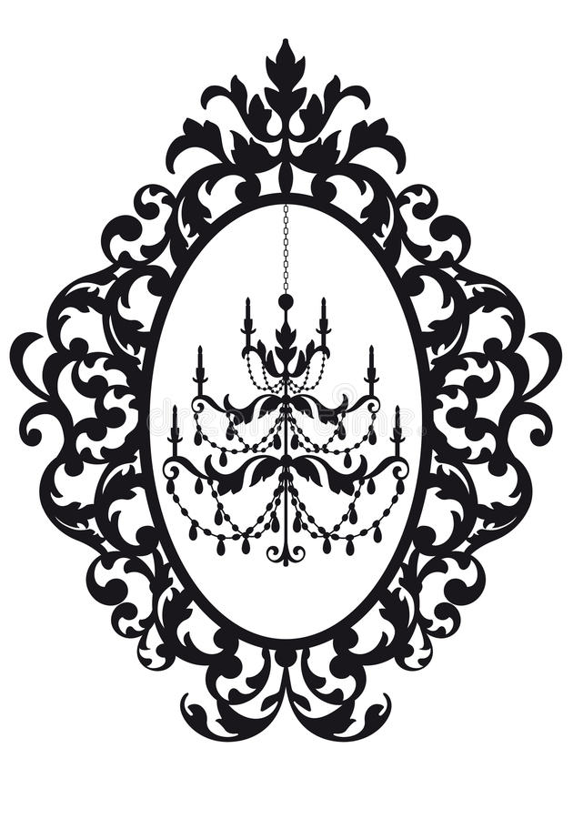Picture frame with chandelier. Antique picture frame with chandelier, vector vector illustration