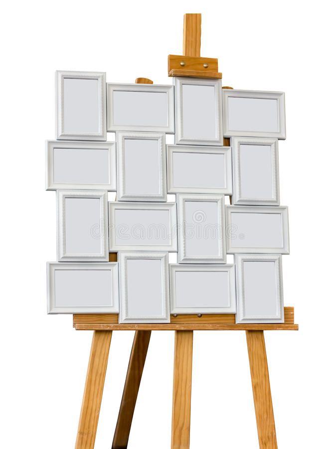 Picture frame on a easel. Isolated on white background stock photography