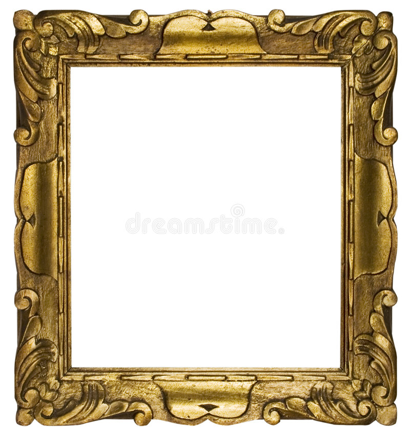 Free Picture Frame Gold Cubic (Path Included) Royalty Free Stock Photos - 446368