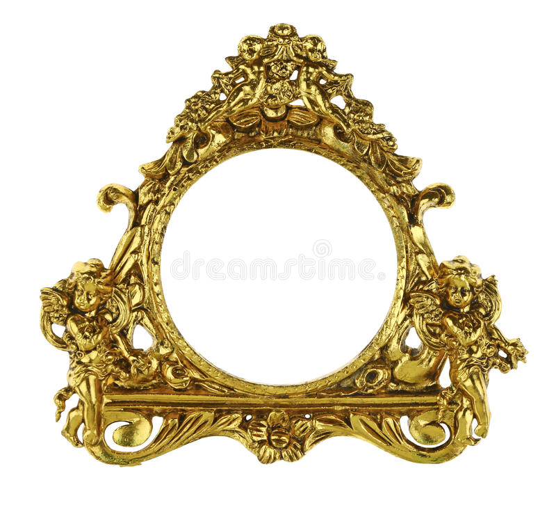 Picture Frame. Gold ornate picture frame with flowers isolated on white royalty free stock photography