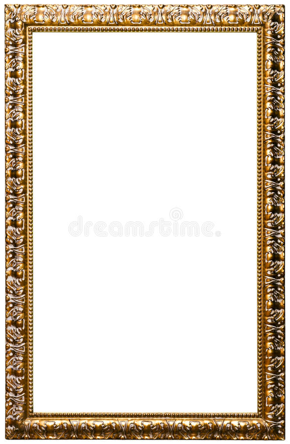 Picture frame, golden color (No#11). Picture frame, golden color, isolated on white. (detailed clipping paths included, using pen tool at 200-300% view stock photos