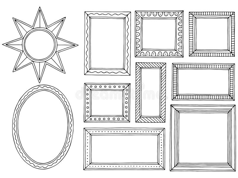 Picture frame graphic black white isolated sketch set illustration vector. Picture frame graphic black white isolated sketch set illustration stock illustration