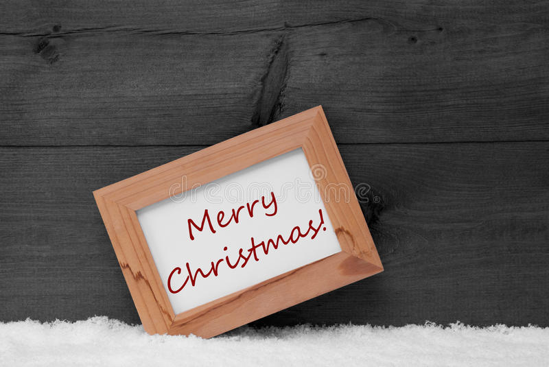Picture Frame With Gray Background, Merry Christmas, Snow stock image
