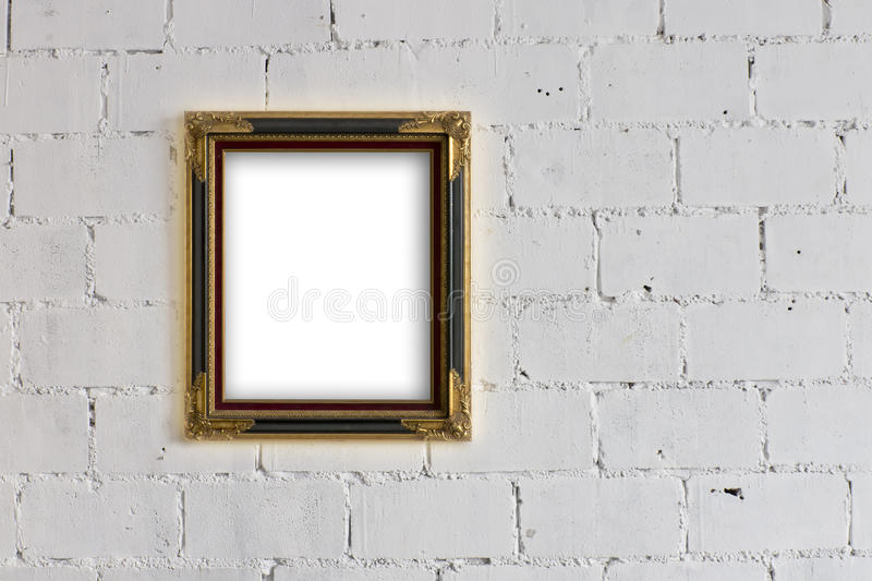 Picture Frame Hanging On White Block Wall Stock Photo - Image of ...