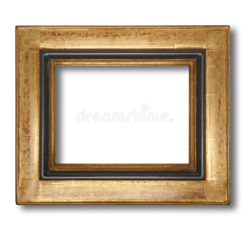 Picture frame, isolated. Picture frame in gold leaf with beveled center, isolated with shadow and clipping path stock photography