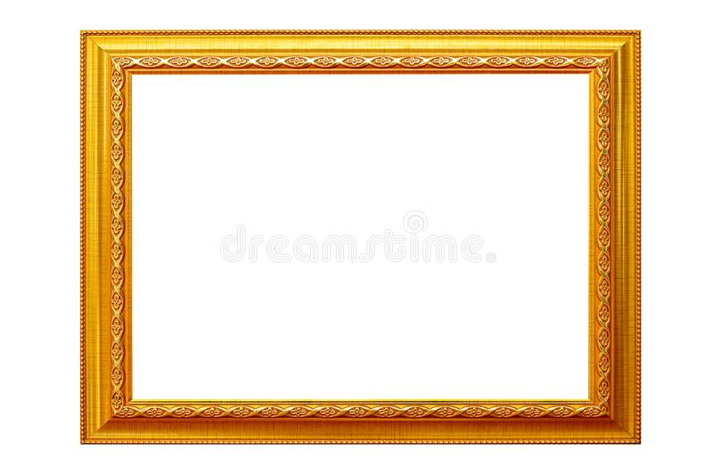 Picture frame isolated on white background, empty antique golden frame royalty free stock photography