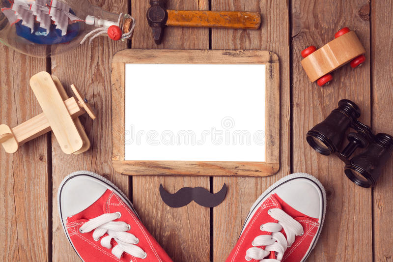 Picture frame mock up template for Father's day holiday. royalty free stock images