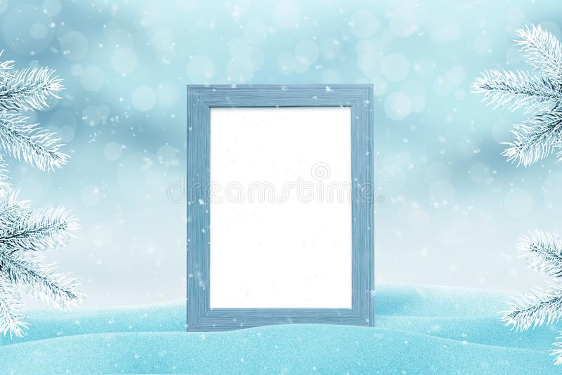 Picture frame mockup for family photo for New Year and Christmas greeting card royalty free stock photos