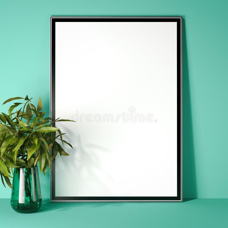 Picture frame in modern green interior. 3d rendering stock illustration