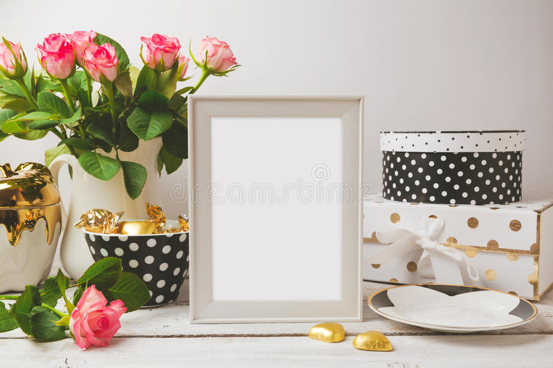 Picture frame poster template mock up with glamour and elegant feminine objects stock images