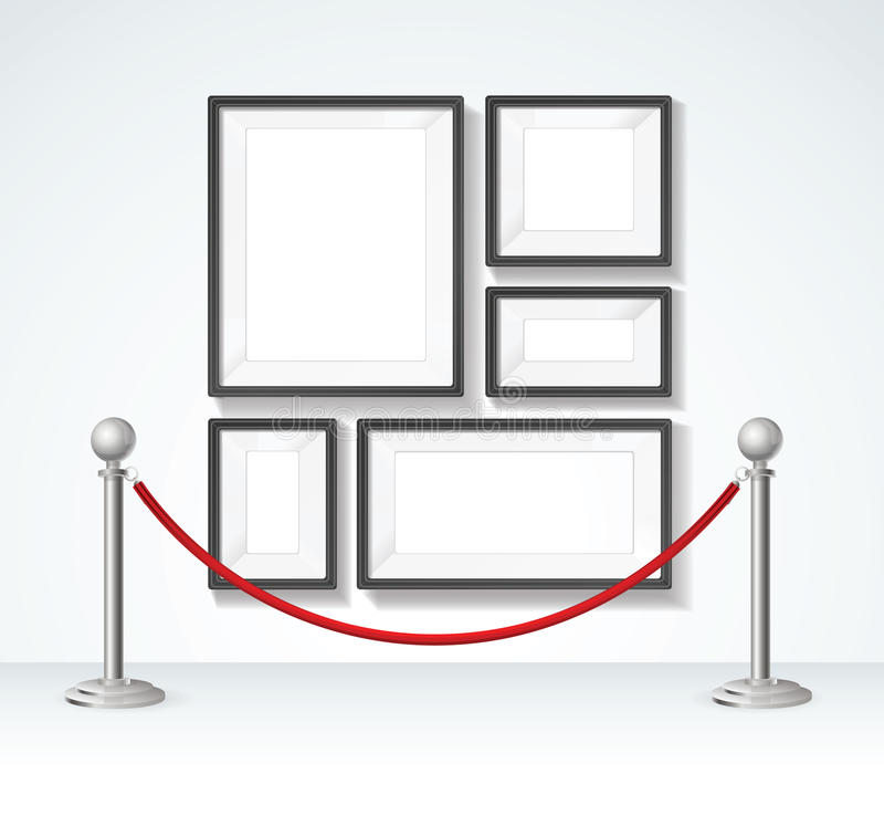 Picture Frame and Silver Rope Barrier Constructor Elements. Vector stock illustration