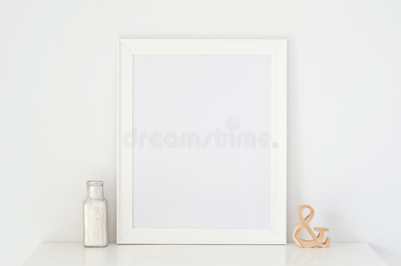 Download Picture Frame And A Vase On The Table & Wood Stock Photo - Image: 83700660