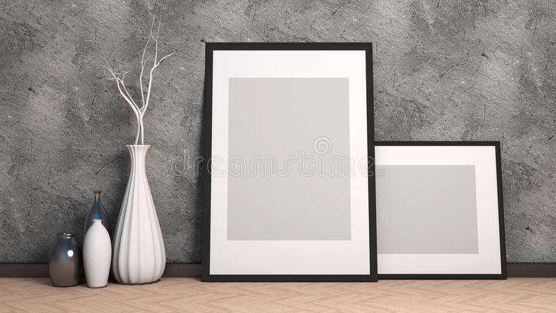 Picture frame and vase on wood floor decorate. 3d illustration stock illustration
