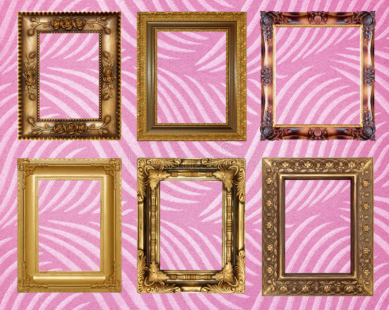 Picture frame Wallpapers. Wallpapers background golden frame Picture frame interior royalty free stock photos