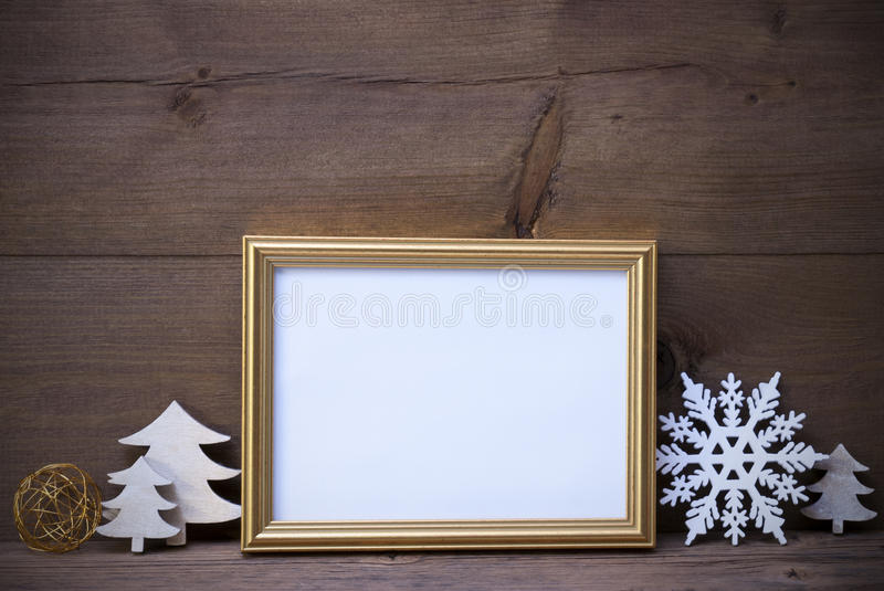 Picture Frame With White Christmas Decoration, Copy Space stock photos