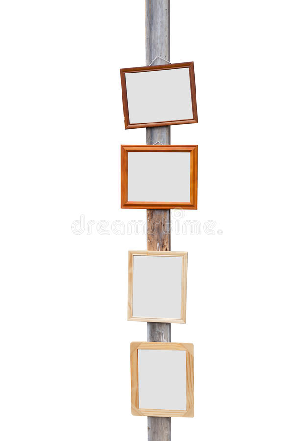 Picture Frame On Wooden Pole Royalty Free Stock Photo
