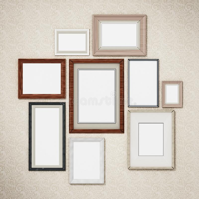 Picture frames arranged on the wall. 3D dimensional stock illustration