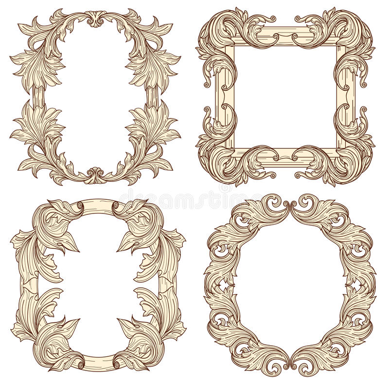Picture frames in baroque antique style. Vector engraving retro royalty free illustration