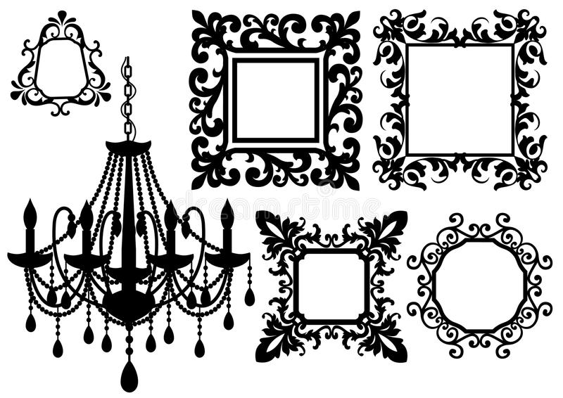 Picture frames and chandelier,