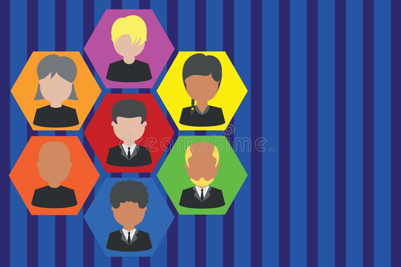 Picture frames chief executive and staff. Company working personnel. Organization Chart CEO employees. Team corporation. Pictures frames chief executive and royalty free illustration