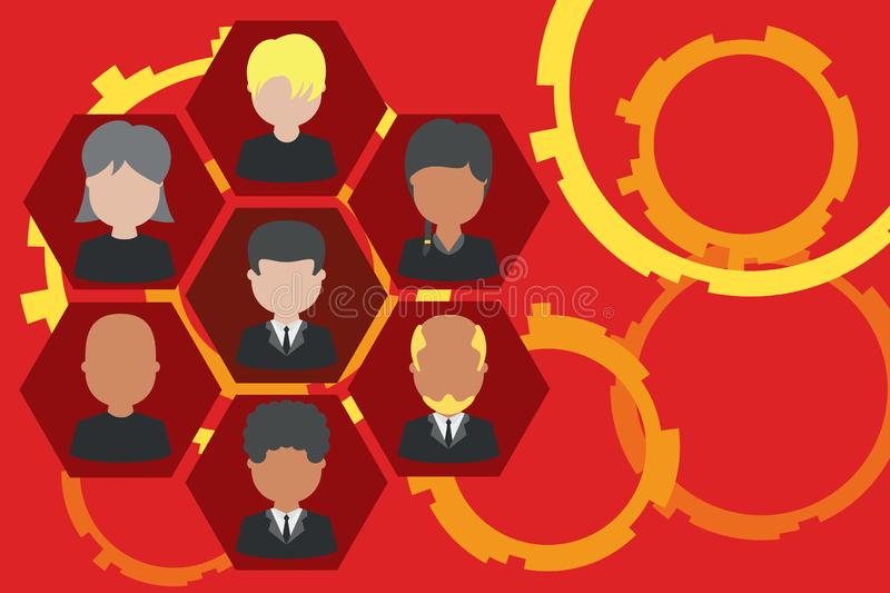 Picture frames chief executive and staff. Company working personnel. Organization Chart CEO employees. Team corporation royalty free illustration